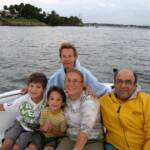 Kathi & Jerry Shapiro with daughter Amy,grandsons George and Chris on St.Lucie River.