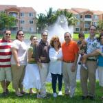 From left to right: Son Eugene, his wife Shana, daughter-in law Megan, son Eron, Susan, Allen, grandson Benjamin, son-in-law Andrew and daughter Emily.   Allen Usow