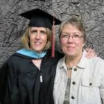 Pam Trommer Shattuck with daughter Kerry Ashby receiving her Masters of Teaching degree.
