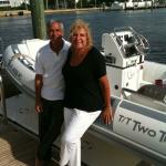 Mitch Melamed and Marsha Silverman Serlin on her boat in Palm Beach.