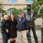 A picture of our granddaughter Aryn with me and my husband Bill (class of 59) at the Navy Memorial in Washington DC this September.  Aryn is in Graduate School at George Washington University. We were on a 46 day driving trip across the country  Yvonne Belue Manahan