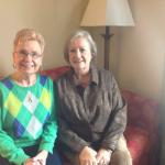 Diane Reichert Hansen and Donna Wold Smith celebrating their 70th birthdays in Kalamazoo, MI
