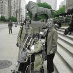 A photo of Joy (Leon) Gorodess, Greer (Kosdon) Braun and me (Sue Alport Ludtke) from May, 2008.  We got to together to celebrate our 65th birthdays with a ladies' night (and day) out.  Greer had a broken foot, so we wheeled her around to the Art Institute, an architectural boat trip on the River