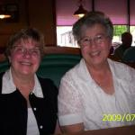 A RECENT PICTURE OF   MARY LOU ZEHNER KOHL AND BEV DUFFEY ALTES, HAVING LUNCH.