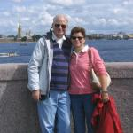 Larry Evans and his wife, Paula, on the banks of the Neva River, St. Petersburg, Russia, Summer 2008.