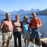 Bob Rhodes, Barb (Trufant) Rhodes, Joan and LLoyd Kuehn on vacation at Glacier National Park.  Bob was in the wedding party of Lloyd and Joan in 1965 and have been friends and traveled extensively ever since.