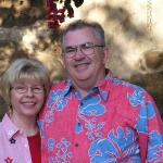 Yvonne (Belue) Manahan and husband Bill (class of 59) at the Mission (4th of JULY) in San Juan Capistrano, California, where they lived before retiring in 2005 & moved to the beautiful Pacific Northwest on the Olympic Peninsula in Washington.