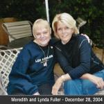 Here is the last photo of Meredith Baxter and I in Meredith's back yard in Santa Monica, CA.  We had a great visit.  We've visited her off and on for over 15 years now.  She had some dynamite TV movies in the 90's, and she was terrific in Family Ties in the 80's.  She's a sweet person, and is always