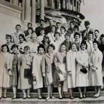 Spring 1960 trip to Washington, D. C. I am 4th from the right in the 2nd row from the bottom. 3rd from the right next to me is my very best friend Marilyn Ahrens Varley. She passed away in 2000.Pam Trommer. Picture by Jerry Shapiro